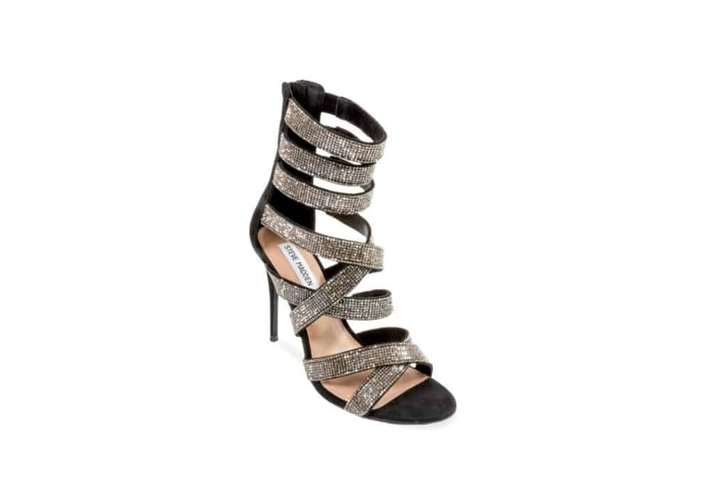 Silver and black strap heel