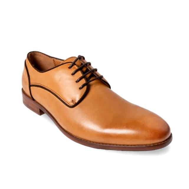 Tan male smart dress shoe product photography.
