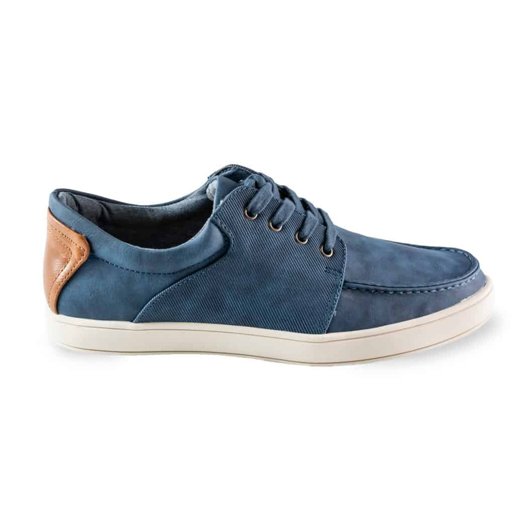 Blue men's casual shoe product photography