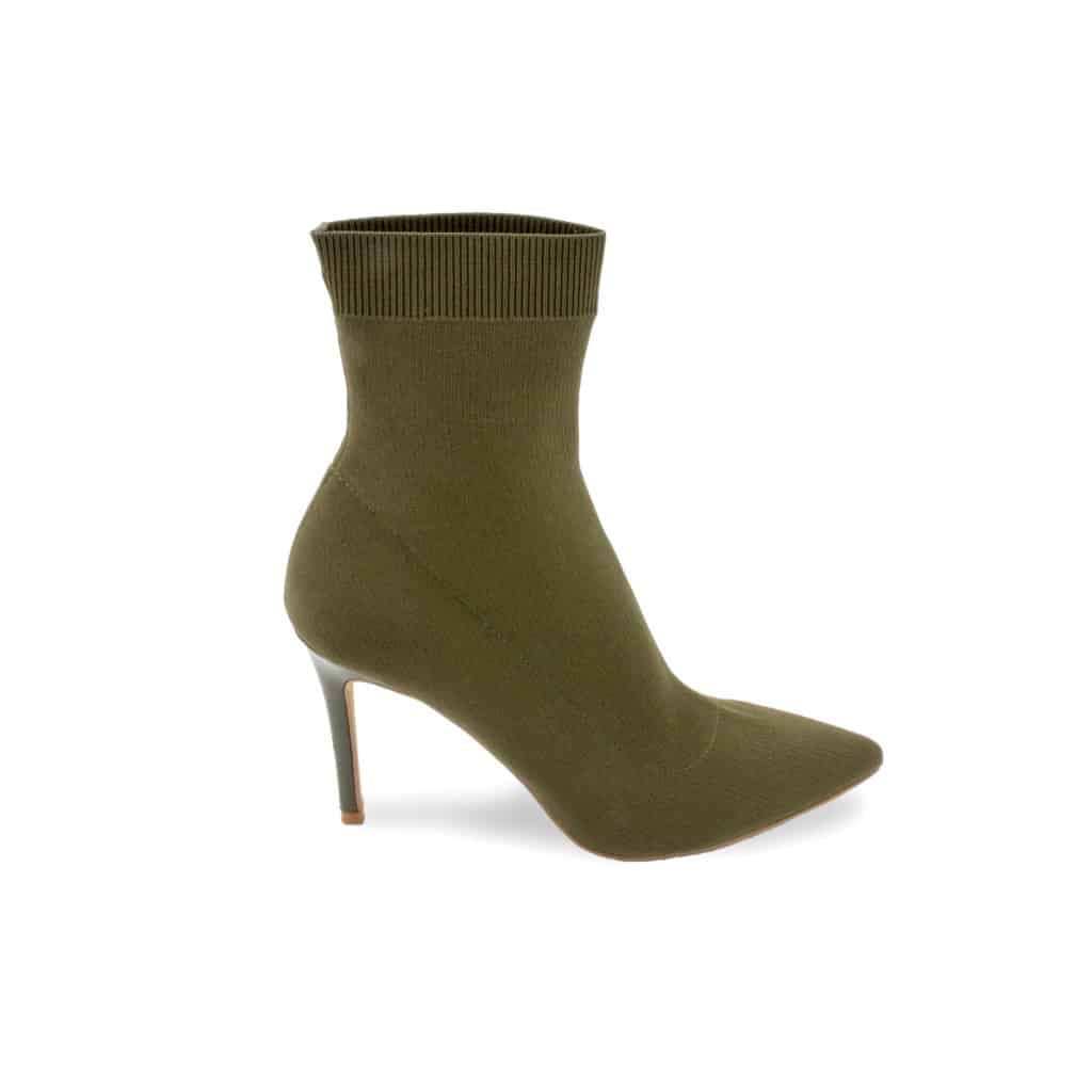Olive green women's heeled boot