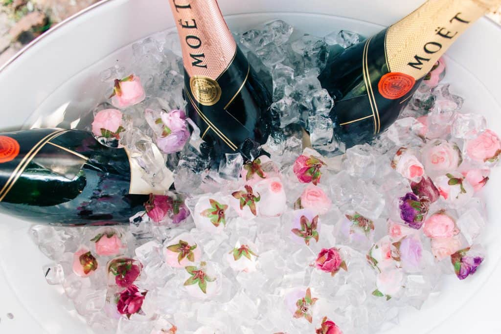 Champagne in ice bucket with flowers - lifestyle photography.