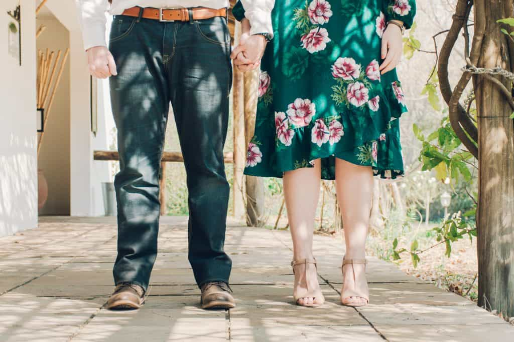 Engagement couple in cropped image - lifestyle photography.