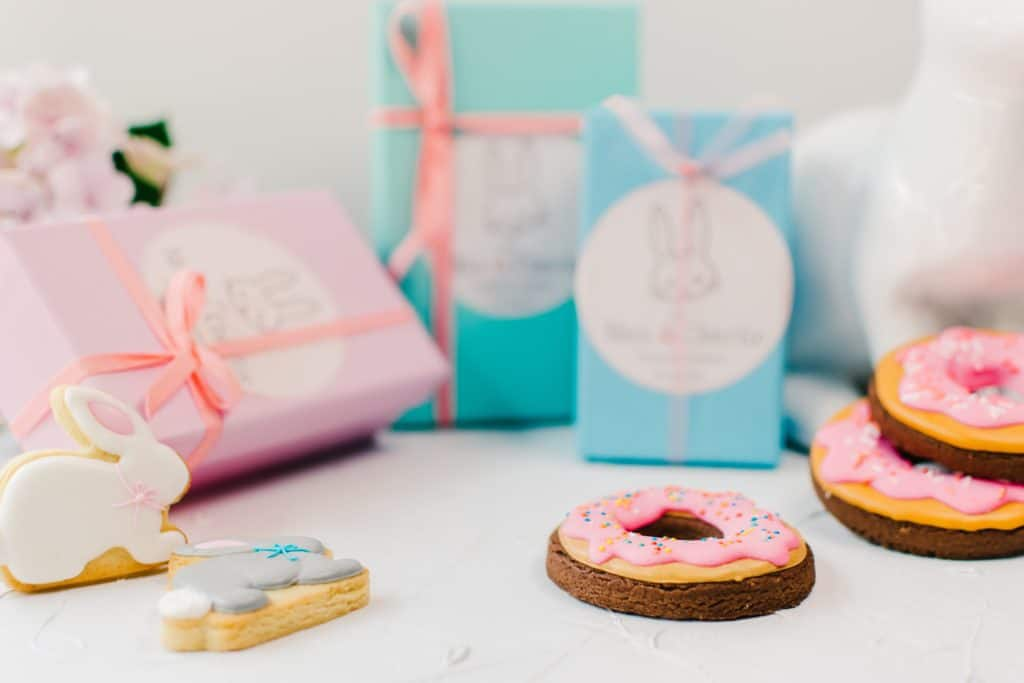 Bunny and doughnut cookies styled product photography.