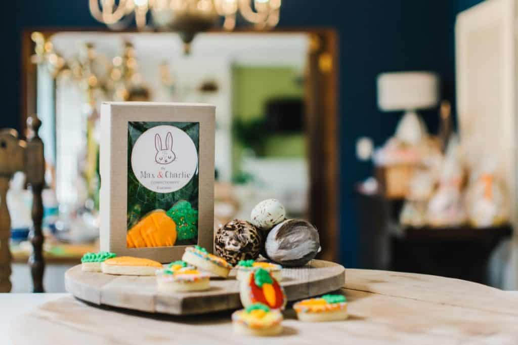 Decorated cookies with packaging styled product photography.
