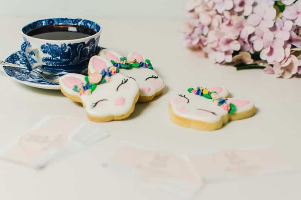 Bunny cookies with a cup of tea styled product photography.